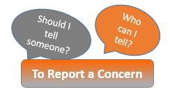 "The words ""to report a concern"" and ""should I tell someone or who can I tell?' in word bubbles"